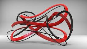 Sublime black and red abstract ribbons and swirls. In studio Royalty Free Stock Image