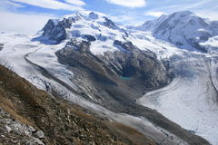 The Sublime. Monte Rosa and Liskamm seen from Gornergrat early autumn 2013 Stock Image