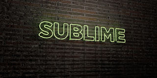 SUBLIME -Realistic Neon Sign on Brick Wall background - 3D rendered royalty free stock image Royalty Free Stock Photo