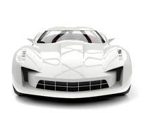 Sublime white super sports concept car - front view closeup shot Stock Images