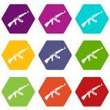 Submachine gun icon set color hexahedron Stock Images