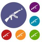 Submachine gun icons set Stock Photos