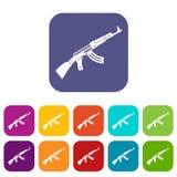 Submachine gun icons set Royalty Free Stock Photography