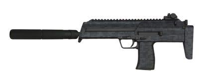 Submachine gun isolated on white stock photography