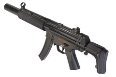 Submachine gun MP5 with silencer Stock Photo