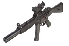 Submachine gun MP5 with silencer isolated Royalty Free Stock Images