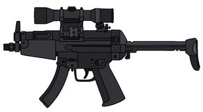 Submachine gun with an optical sight Stock Photo