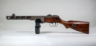 Submachine gun ppsh-41 on a light background. Stock Photo