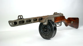 Submachine gun ppsh-41 on a light background. Stock Photo