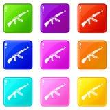 Submachine gun set 9 Stock Photo