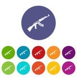 Submachine gun set icons Stock Photography