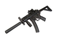 Submachine gun with silencer Royalty Free Stock Image