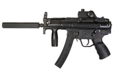 Submachine gun with silencer Stock Photo