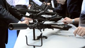 Submachine Gun on the table. Close-up stock video