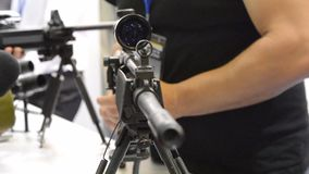 Submachine Gun on the table. Close-up stock video footage