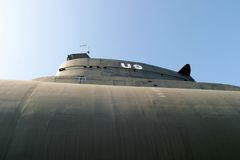 Submarine. Side view of an old submarine in an open air museum stock image