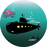 Submarine. The submarine is floating in the sea under the water.Octopus and a shark swimming near.An illustration is divided into layers.Additionally, black and Royalty Free Stock Photo