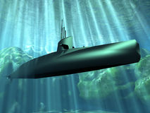 Submarine. The submarine under the water Royalty Free Stock Photo