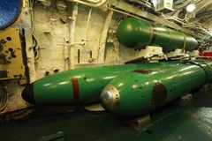 Submarine. Torpedo compartment on board the Russian submarine Royalty Free Stock Image