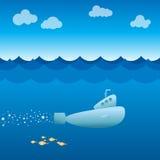 Submarine. Submerged vessel cruising beneath the ocean Royalty Free Stock Photo