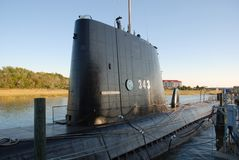 Submarine. Docked at port in Charleston, SC Stock Images