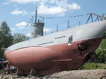 Submarine. Vesikko was a submarine of the Finnish Navy in World War II. The submarine currently lies on the island of Suomenlinna in Helsinki and serves as stock photo