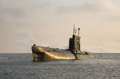 Submarine. Foxtrot B-80 rising to the surface stock photo