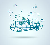 Submarine abstract, stylization, vector Royalty Free Stock Photography