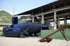 Submarine and anchor Stock Photo