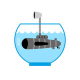 Submarine in Aquarium. Periscope above water. Monitoring space. Stock Photography