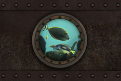 Submarine armoured porthole Stock Photo