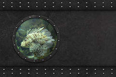 Submarine armoured window. Submarine armoured porthole metal background Stock Photo
