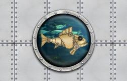 Submarine armoured window Stock Photos