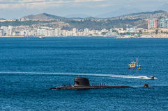 Submarine arriving at port Stock Image