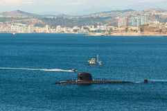 Submarine arriving at port Royalty Free Stock Images