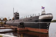 Submarine `B-440`, the city of Vytegra, Vologda region, Russian Federation. 29 Sep 2017. The Museum of military glory of the Sailo. Submarine `B-440`, the city Royalty Free Stock Photo