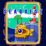 Submarine on the background of the island with a tree and a lighthouse. stock illustration