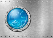 Submarine or bathyscaph porthole underwater Stock Images