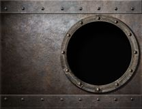 Submarine or battleship porthole steam punk metal Stock Photos