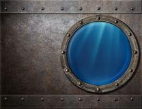 Submarine or battleship porthole steam punk metal. Submarine or battleship porthole metal background royalty free stock image