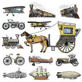 Submarine, boat and car, motorbike, Horse-drawn carriage. airship or dirigible, air balloon, airplanes corncob. Locomotive. engraved hand drawn in old sketch Stock Image