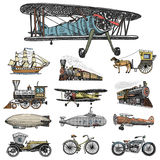 Submarine, boat and car, motorbike, Horse-drawn carriage. airship or dirigible, air balloon, airplanes corncob. Locomotive. engraved hand drawn in old sketch Stock Photos