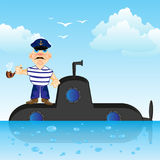 Submarine with captain. Submarine on surfaces of the ocean and captain with tube Stock Images
