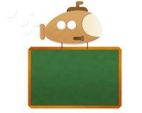 Submarine carrying blackboard Stock Image