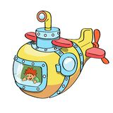 Submarine cartoon colored Royalty Free Stock Image