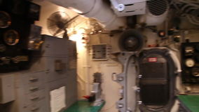 Submarine control room. HONOLULU, OAHU, HAWAII, USA - AUGUST 21, 2016: control room with levers, wheels and a table in USS Bowfin Submarine SS-287 at Pearl stock video