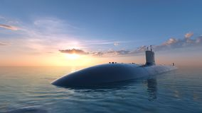 Submarine. 3D CG rendering of a submarine Royalty Free Stock Images