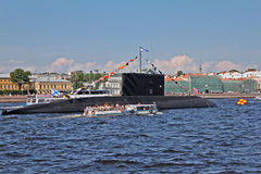 Submarine in Day Of The Navy Of Russia Royalty Free Stock Photography