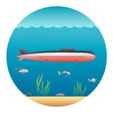 Submarine Detailed Illustration Royalty Free Stock Photo