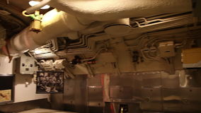 Submarine dining room. HONOLULU, OAHU, HAWAII, USA - AUGUST 21, 2016: dining room with sink of USS Bowfin Submarine SS-287 at Pearl Harbor. Historic Landmark and stock video
